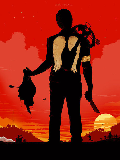 the walking dead in daryl we trust by bigbadrobot man silhouette walking