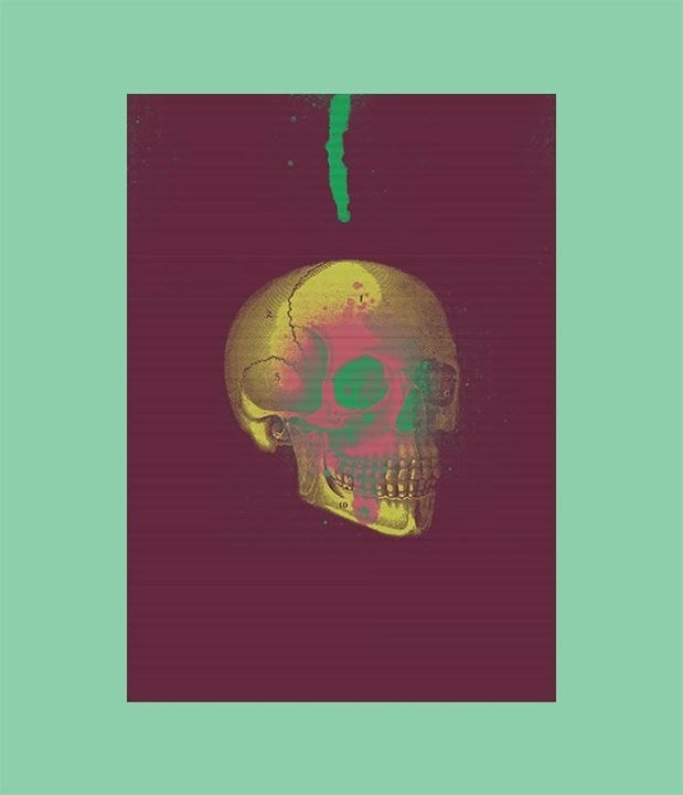 Collage composition, taking basic elements as a vintage skull image and some spray graffiti brushes. Creating in that way a colourful x-ray