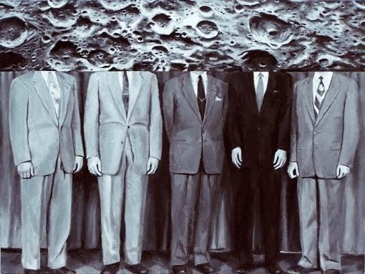 Dan Bina, Moon Heads #oil #bina #nasa #dan #men #vintage #painting #canvas #moon