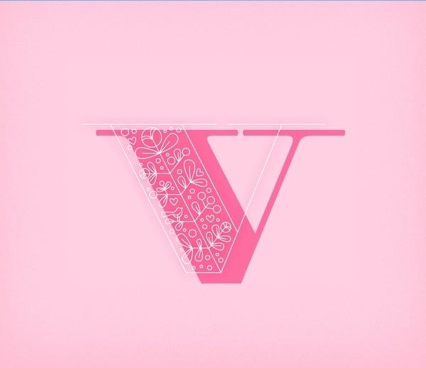 V #letter #ornaments #typography