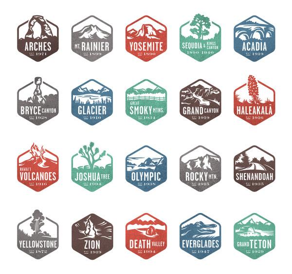 National Parks Stamps #logo #stamp