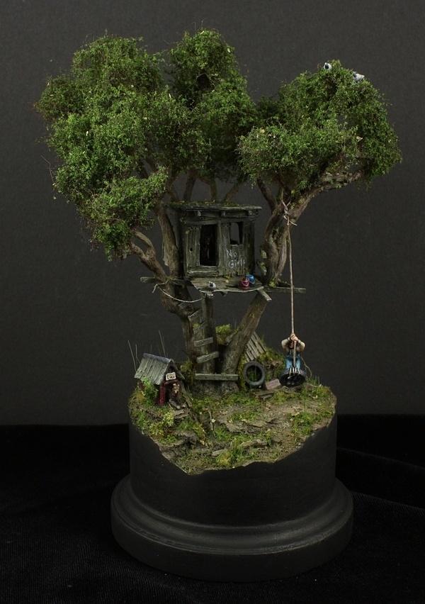 Toms' treehouse 1/87 scale #miniature #diorama #treehouse