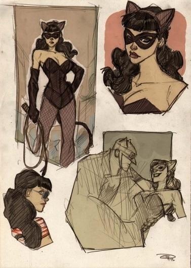 Artist Reimagines Batman in the '50s - DesignTAXI.com #catwoman #batman #illustration #vintage #comics