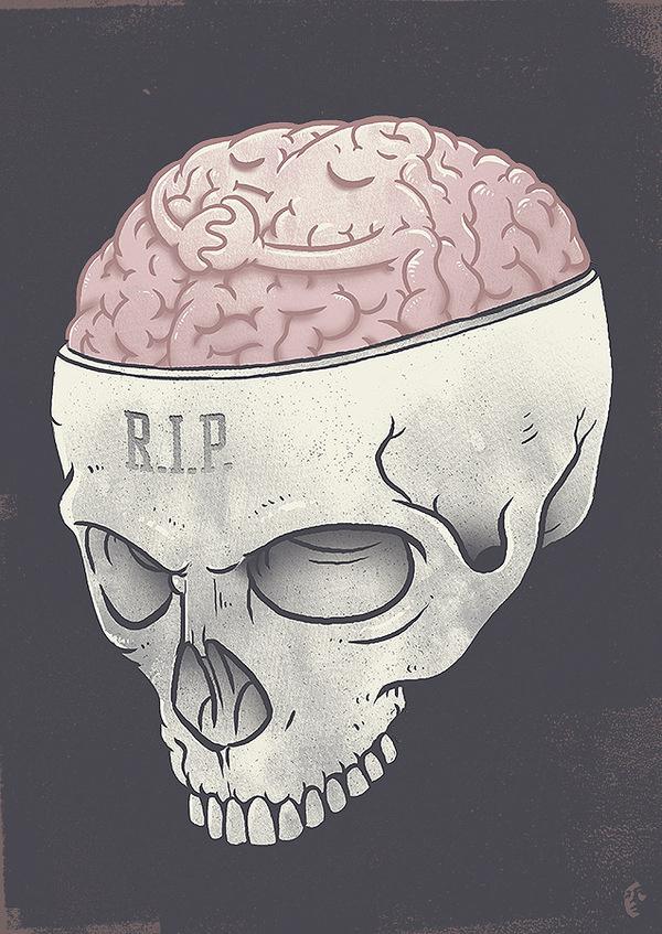 tee design…check it out here:http://thrdl.es/~/3rsd #rip #skeleton #macabre #design #brain #illustration #art #skull #bones