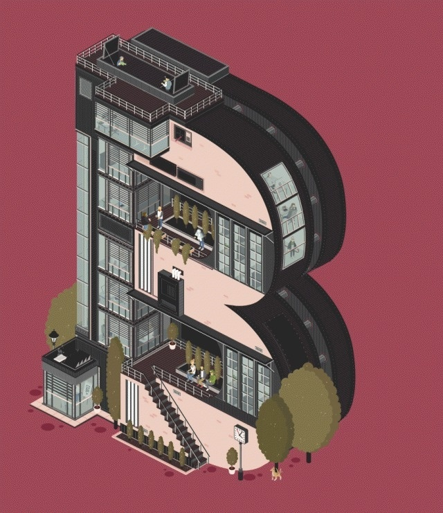 Animated Architectural Letterforms_4 #illustration #building
