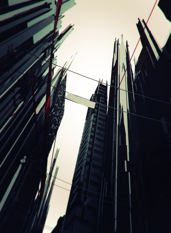 red ink on paper #gotham #city #design #batman #tower