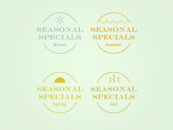 Seasonal Specials #spring #nick #icon #cold #fall #icons #warm #sickelton #cafe #summer #seasons #logo #winter