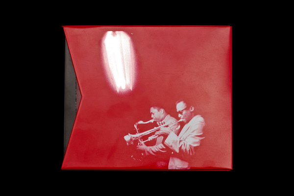 Miles Davis and John Coltrane #red #print #design #graphic #package