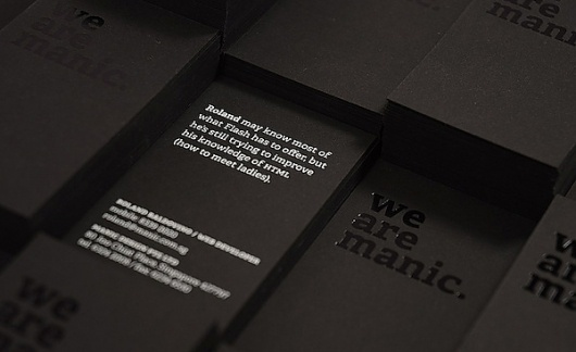 Manic Namecards 2011 on the Behance Network #hotstamp #silkscreen #black #namecards #manic