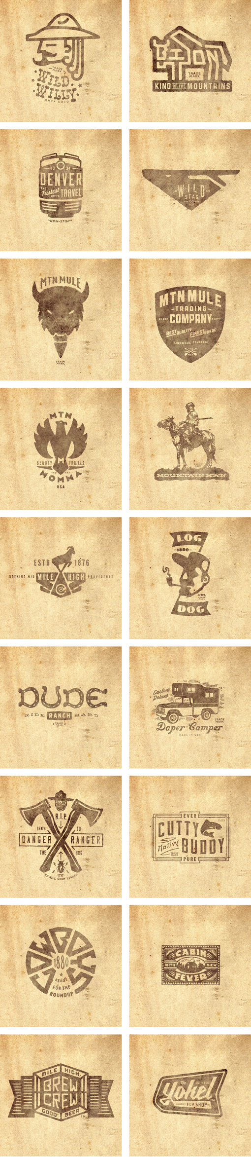 THINKMULE™ MTN MULE™ TRADING COMPANY logos set. #thinkmule #colorado #pruitt #vintage #logo #jeremy