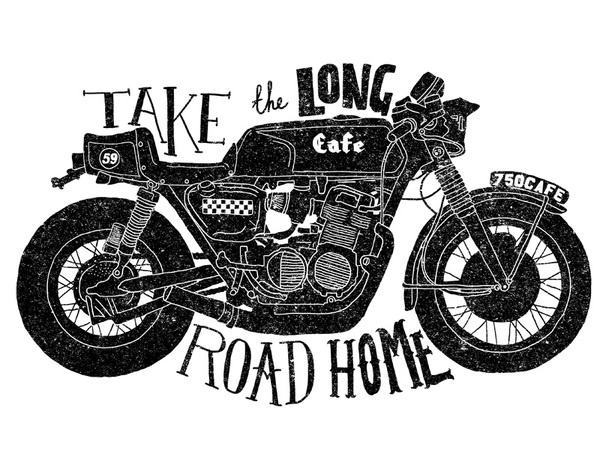 All sizes | Take the long road home | Flickr Photo Sharing! #teelocker #orka #illustration #caferacer #abo #typography