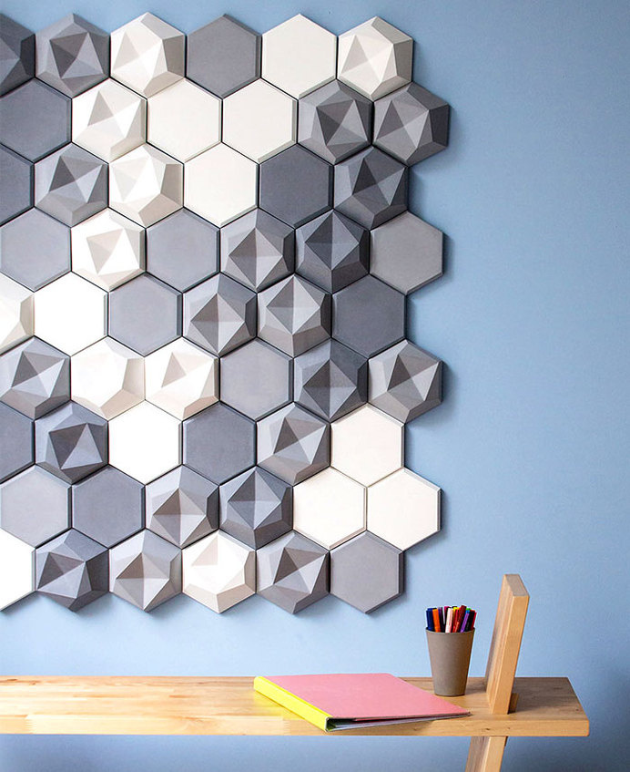 Edgy Concrete Tile Collection concrete tile collection edgy 5 #tiles #wall #wallcovering #walls #3d #hexagonal