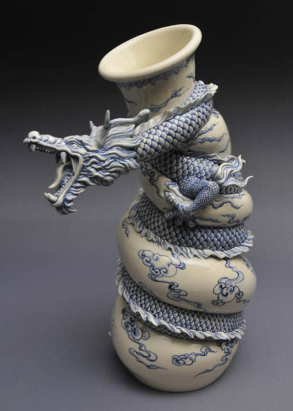 A Dragon Teapot And Other Mystique Creations Wall to Watch #dragon #fantasy #sculpture #vase #ceramics #asia #ming #squeeze #pot #china #art #teapot #oriental #beauty