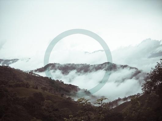 Blue circle #clouds #sky #color #landscape #circle #mountains