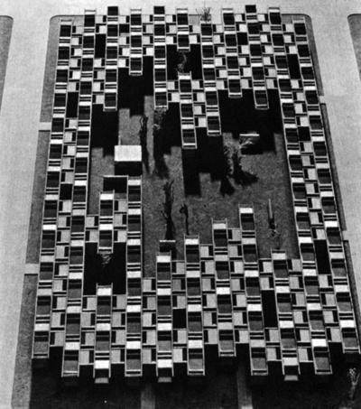 ©sachio otani kojimachi project for high density courtyard dwellings japan 1961 #courtyards #models #1960s #architecture #housing