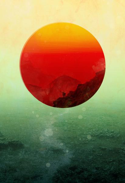 In the end, the sun rises Art Print #sun #red #wildlife #orange #art #circle #mountains #green