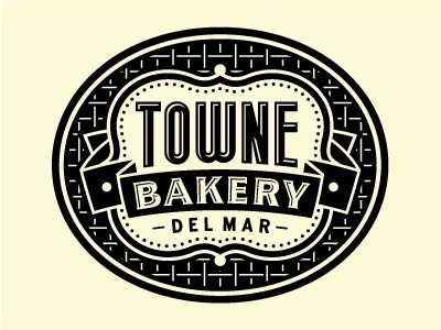 Dribbble - Towne Bakery by Tim Frame #bakery #banner #towne #icon #del #logo #mar #california