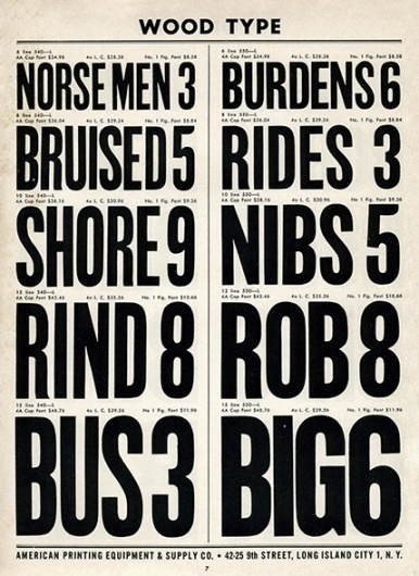 Wood Type, Specimen Sunday. From 'American Printing Equipment Complete 1966–1967 Type Catalog' #wood #type #letterpress