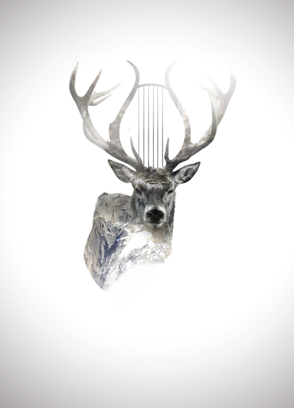 Behance :: Editing Digital Illustrations #deer #alpine #digital #illustration #nature #music #mountains