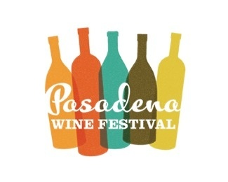 Pasadena Wine Festival #calligraphy #red #bottle #yellow #orange #wine #brown #logo #blue