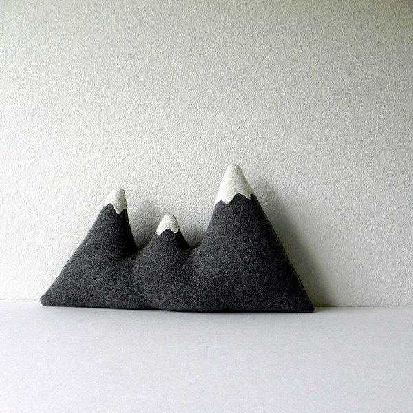 the Sisters grey wool mountain range pillow #pillow #mountain