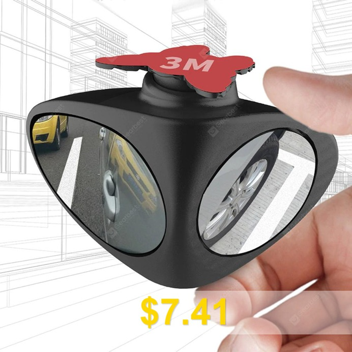 Automotive #Rear #View #Rotary #Adjustable #Wide-angle #Blind #Spot #Mirror #- #BLACK