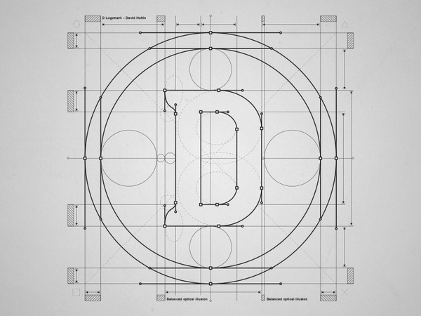 D Grid by David Hultin #circle #construction #diagram #design #grid #letter #logo #typography