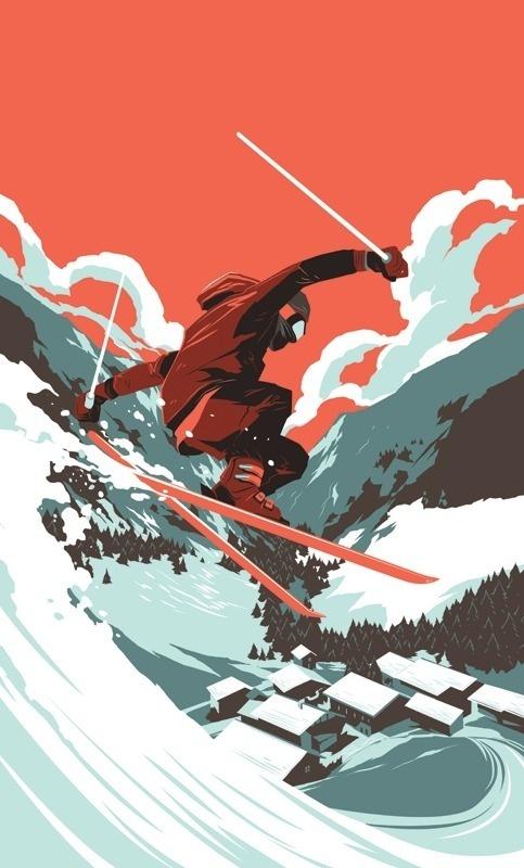 Vector Artwork #vector #ski #snow #jump #art