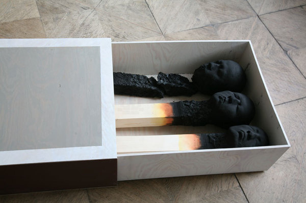 matchstick men by wolfgang stiller #morbid #matchstick #burnt #installation #men #dead