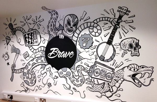 Some stills of the piece at Brave AS FEATURED ON THE APPRENTICE!If you need a bally good agency theys yo peeps. http://www.brave.co.uk #timminess #illustration #mural