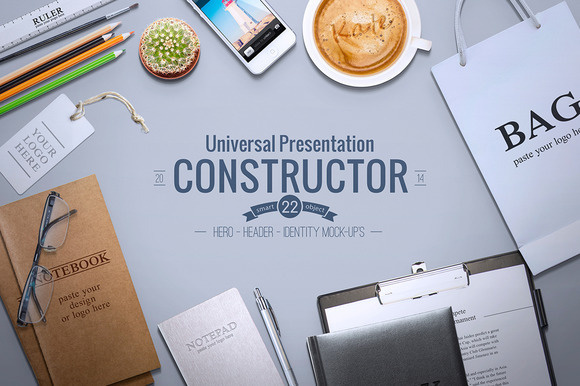 https://creativemarket.com/itembridge/102120-Universal-Constructor Universal Constructor can be used as an *identity mock-up*, *landing page #text #objects #background #mock #business #isolated #mockup #designer #customisable #presentation #header #constructor #hero #scene #identity #web #coffee #pencil
