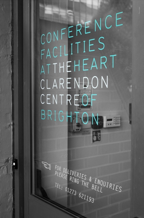 Clarendon centre brand by fentonforeman.com #white #door #black #and #signage #logo #conference
