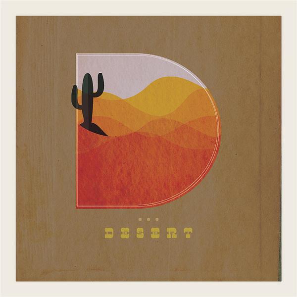 The letter D illustrated as a desert