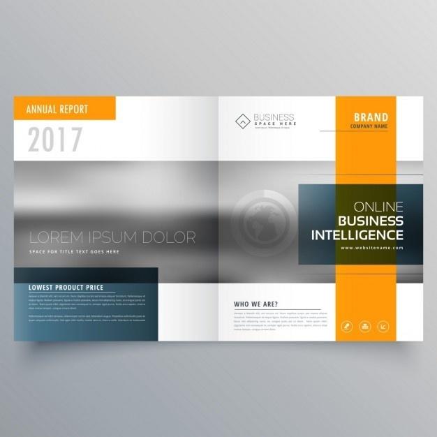 Orange open geometric brochure Free Vector