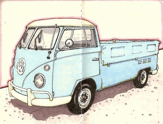 All sizes | vw | Flickr - Photo Sharing! #pickup #ink #and #van #kombi #moleskine #pen #inkandclay #drawing #sketch