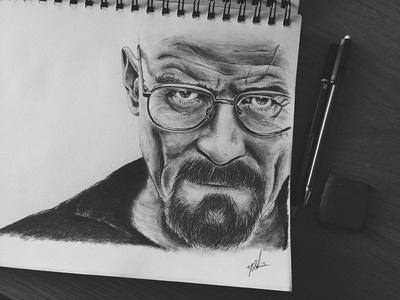 Walter White - Sketch by Mike Clarke #walter #amc #bad #white #breaking #black #heisenberg #art #cranston #pencil #paper #bryan #sketch
