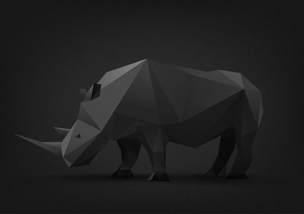 Animal illustrations on the Behance Network #rhino #polygon