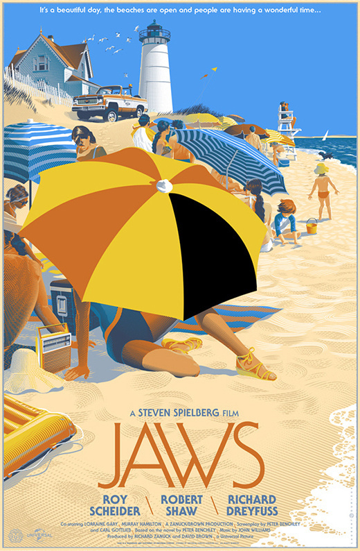 Jaws on Behance #umbrella #parasol #shark #jaws #illustration #poster #film #beach #typography
