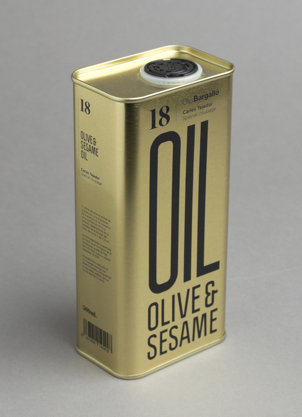 Packaging for Olive & Sesame Oil by Lo Siento #packaging #typography #gold #can #oil