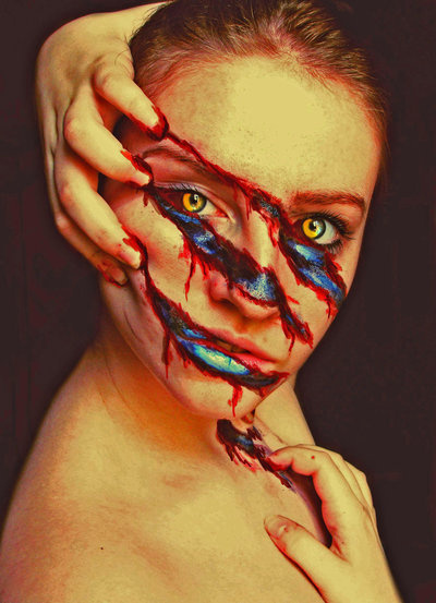 frederickchinkueicoleman: In What do You Believe? by Meljona #blood #make #tear #horror #slice #photography #up #face