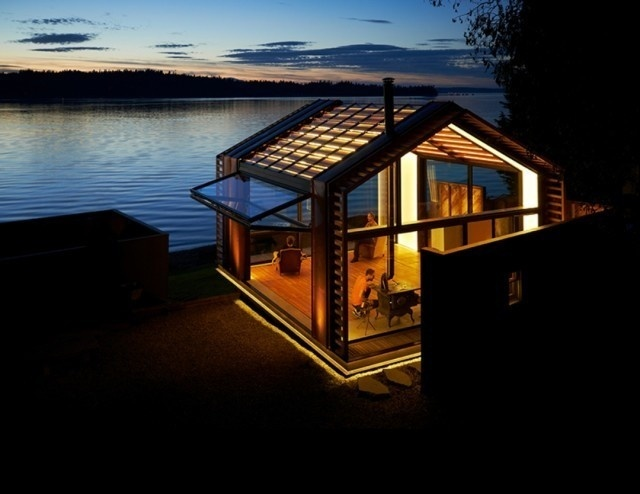0-Illuminated Waterfront Cabin by Graypants #cabin