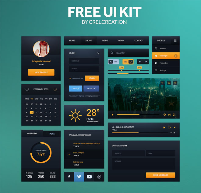 Free UI Kit by Hervé // Crelcreation