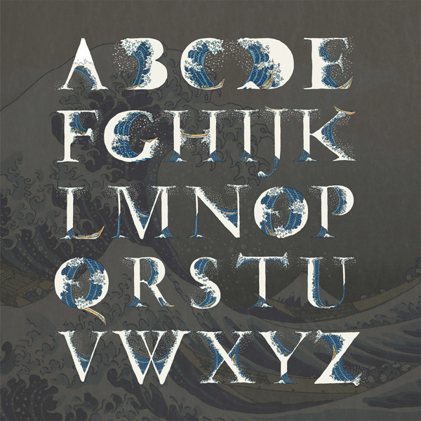 The great wave of Kanagaw typeface