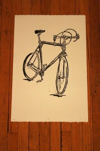 n.wise #woodcut #velo #bike #poster