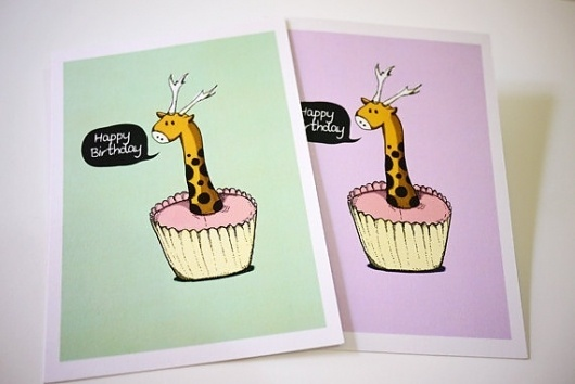 Giraffe Birthday Wish Cards set of 2 Size 5x7 by lonelypeopleart #card #art #greeting #lonelypeopleart #drawing