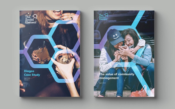 The Social Element print covers graphics