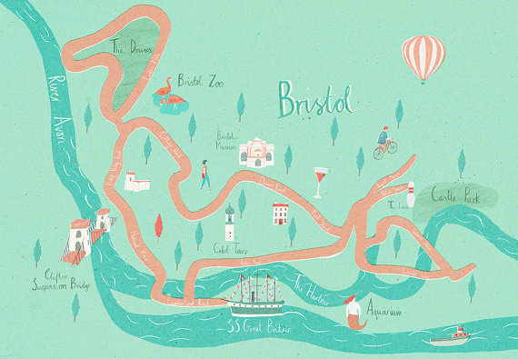 Illustrated map of Bristol (A3) #illustration #maps