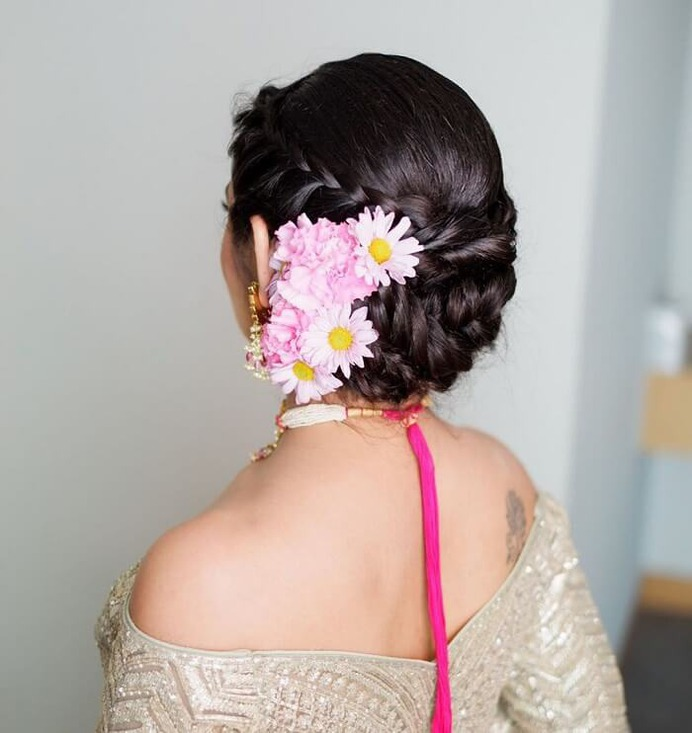 Braided Bun With Floral Accessory