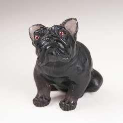 Kleine Obsidian-Tierfigur 'Bulldogge'