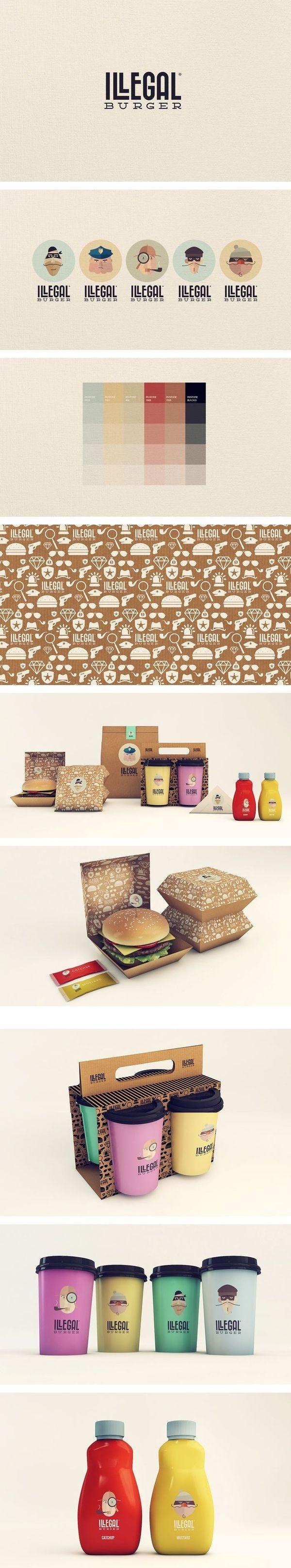 Illegal Burger | Isabella Rodriguez/Sweety Branding Studio #illustration #branding #burger #thief